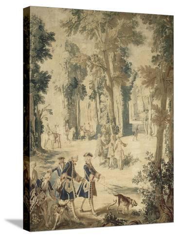 Tapisserie de la tenture : Louis XV tenant le limier-Jean Baptiste Oudry-Stretched Canvas Print