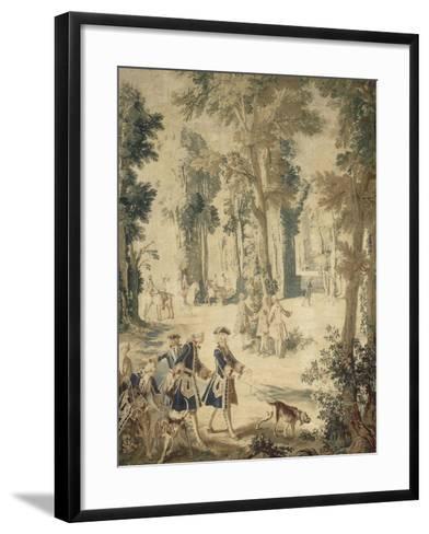 Tapisserie de la tenture : Louis XV tenant le limier-Jean Baptiste Oudry-Framed Art Print