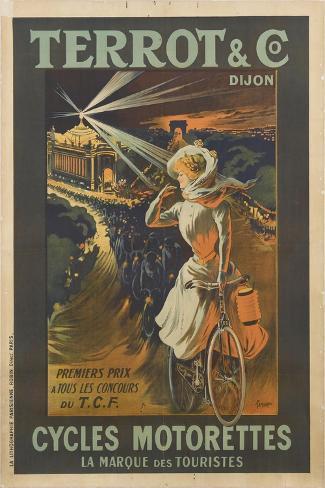 Terrot and Co, Dijon, premier prix à tous les concours, cycles Motorettes, la marque des touristes--Stretched Canvas Print
