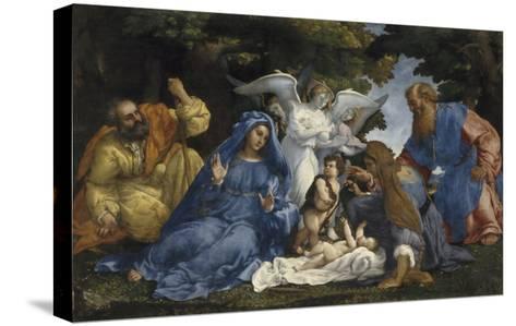 L'Adoration de l'Enfant Jésus-Lorenzo Lotto-Stretched Canvas Print