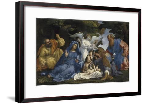 L'Adoration de l'Enfant Jésus-Lorenzo Lotto-Framed Art Print