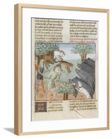 Le Livre de la chasse de Gaston Phébus : chasse aux sangliers--Framed Art Print