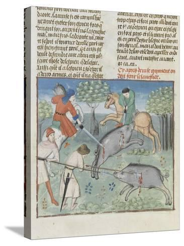 The Book of Gaston Phoebus Hunting: Killing the Boar--Stretched Canvas Print