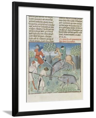 The Book of Gaston Phoebus Hunting: Killing the Boar--Framed Art Print