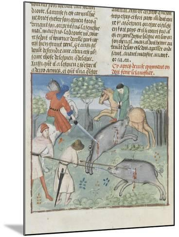 The Book of Gaston Phoebus Hunting: Killing the Boar--Mounted Giclee Print