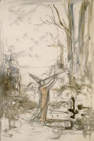 """L'Astrologue qui se laisse tomber dans un puits. Esquisse pour les """"Fables de La Fontaine""""-Gustave Moreau-Stretched Canvas Print"""