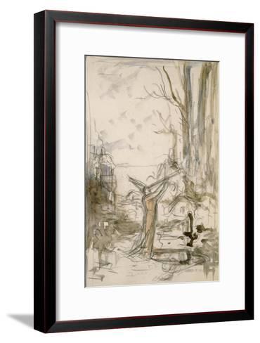 """L'Astrologue qui se laisse tomber dans un puits. Esquisse pour les """"Fables de La Fontaine""""-Gustave Moreau-Framed Art Print"""