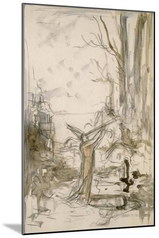"""L'Astrologue qui se laisse tomber dans un puits. Esquisse pour les """"Fables de La Fontaine""""-Gustave Moreau-Mounted Giclee Print"""