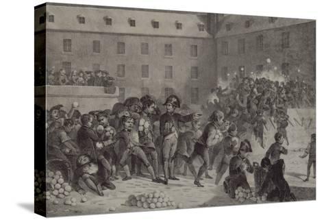 La bataille de boules de neige au collège de Brienne-Denis Auguste Marie Raffet-Stretched Canvas Print