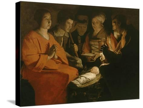 L'Adoration des bergers-Georges de La Tour-Stretched Canvas Print