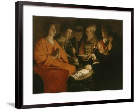 L'Adoration des bergers-Georges de La Tour-Framed Art Print