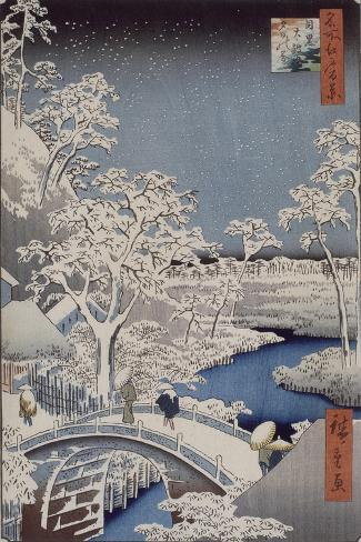 Le pont Taiko et la colline Yûshi à Meguro-Ando Hiroshige-Stretched Canvas Print