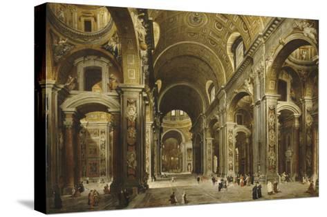 Le cardinal Malchior de Polignac visite Saint-Pierre-de-Rome-Giovanni Paolo Pannini-Stretched Canvas Print