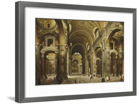 Le cardinal Malchior de Polignac visite Saint-Pierre-de-Rome-Giovanni Paolo Pannini-Framed Art Print