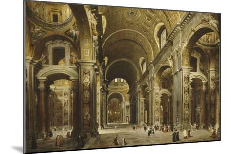 Le cardinal Malchior de Polignac visite Saint-Pierre-de-Rome-Giovanni Paolo Pannini-Mounted Giclee Print