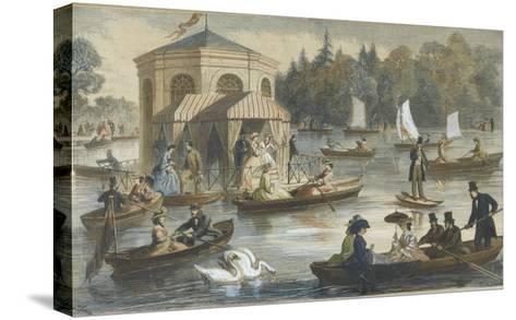 La cour à Fontainebleau. La pièce d'eau--Stretched Canvas Print