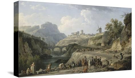 La construction d'un grand chemin-Claude Joseph Vernet-Stretched Canvas Print