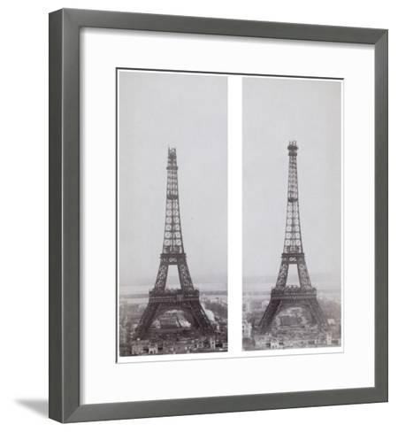 La construction de la Tour Eiffel vue de l'une des tours du palais du Trocadéro-Théophile Féau-Framed Art Print