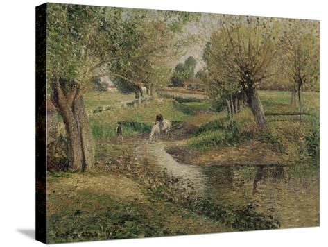 L'Abreuvoir, Eragny-Camille Pissarro-Stretched Canvas Print