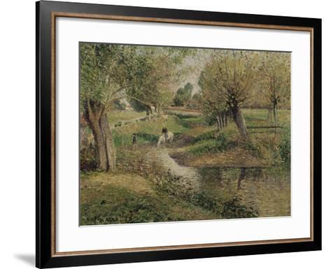 L'Abreuvoir, Eragny-Camille Pissarro-Framed Art Print