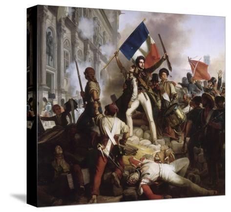 Le combat devant l'Hôtel de Ville, le 28 juillet 1830-Jean Victor Schnetz-Stretched Canvas Print