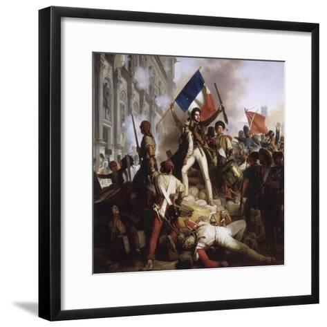 Le combat devant l'Hôtel de Ville, le 28 juillet 1830-Jean Victor Schnetz-Framed Art Print