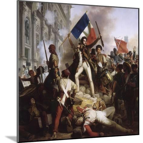 Le combat devant l'Hôtel de Ville, le 28 juillet 1830-Jean Victor Schnetz-Mounted Giclee Print