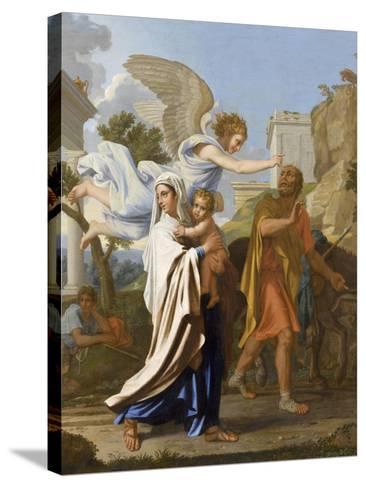 La fuite en Egypte-Nicolas Poussin-Stretched Canvas Print