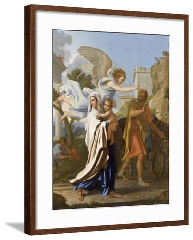 La fuite en Egypte-Nicolas Poussin-Framed Art Print
