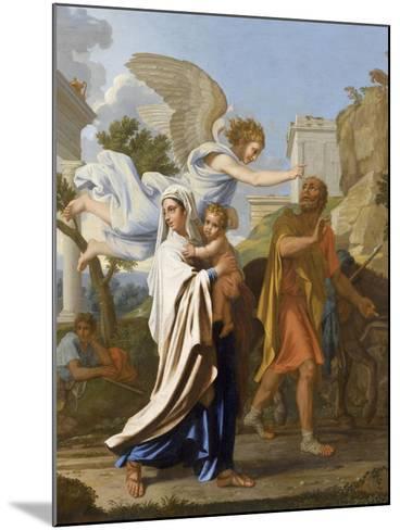 La fuite en Egypte-Nicolas Poussin-Mounted Giclee Print