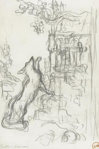 Le renard et les raisins-Gustave Moreau-Stretched Canvas Print