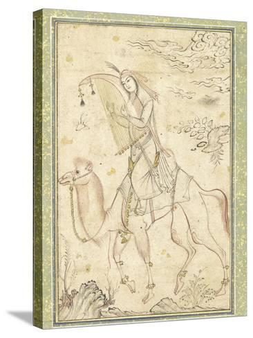 La Harpiste Azadeh à dos de chameau--Stretched Canvas Print
