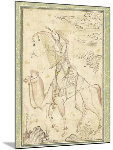 La Harpiste Azadeh à dos de chameau--Mounted Giclee Print