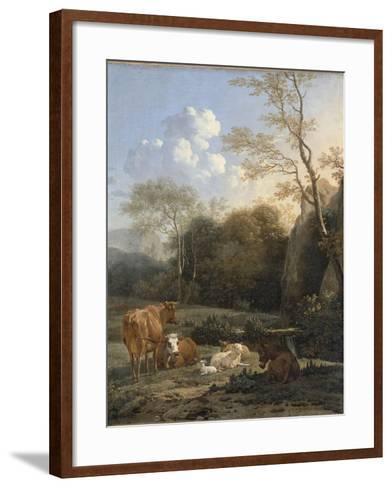 Le Bocage ; Vaches, ânes et moutons près d'un ruisseau-Karel Dujardin-Framed Art Print