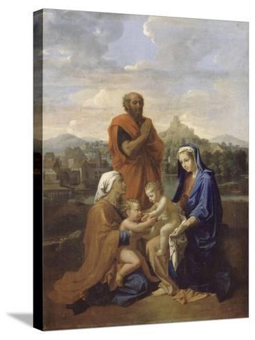 La Sainte Famille avec saint Jean, sainte Elisabeth et saint Joseph priant-Nicolas Poussin-Stretched Canvas Print