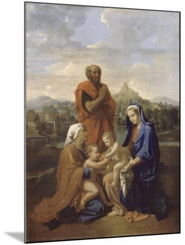 La Sainte Famille avec saint Jean, sainte Elisabeth et saint Joseph priant-Nicolas Poussin-Mounted Giclee Print