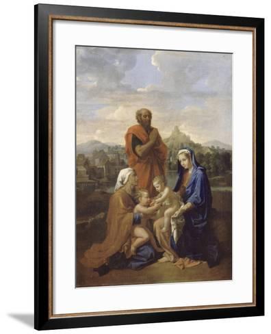 La Sainte Famille avec saint Jean, sainte Elisabeth et saint Joseph priant-Nicolas Poussin-Framed Art Print