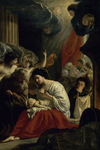La  Nativité de la Vierge-Mathieu Le Nain-Stretched Canvas Print