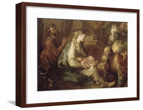 La Nativité, avec l'Adoration des mages-Charles de La Fosse-Framed Art Print