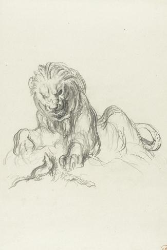 le lion et le rat-Gustave Moreau-Stretched Canvas Print