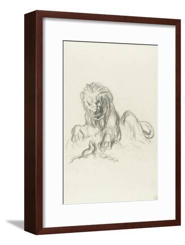 le lion et le rat-Gustave Moreau-Framed Art Print