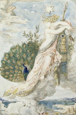 Le Paon se plaignant à Junon. Etude pour les Fables de La Fontaine-Gustave Moreau-Stretched Canvas Print