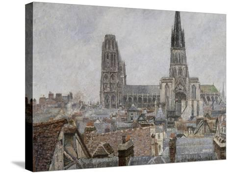 The Roofs of Old Rouen, Grey Weather, 1896 Cathedral-Camille Pissarro-Stretched Canvas Print