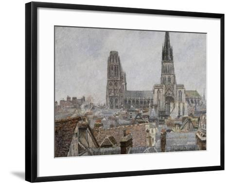 The Roofs of Old Rouen, Grey Weather, 1896 Cathedral-Camille Pissarro-Framed Art Print