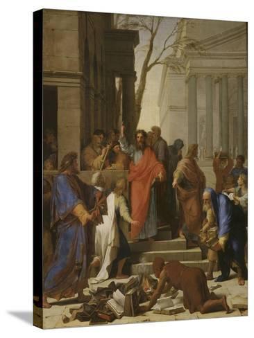 La Prédication de saint Paul à Ephèse-Eustache Le Sueur-Stretched Canvas Print
