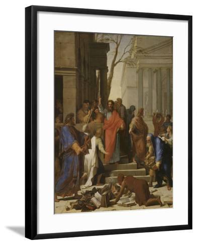 La Prédication de saint Paul à Ephèse-Eustache Le Sueur-Framed Art Print