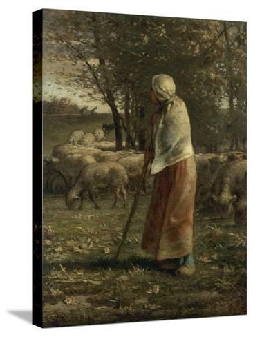 La petite berg�-Jean-Fran?ois Millet-Stretched Canvas Print