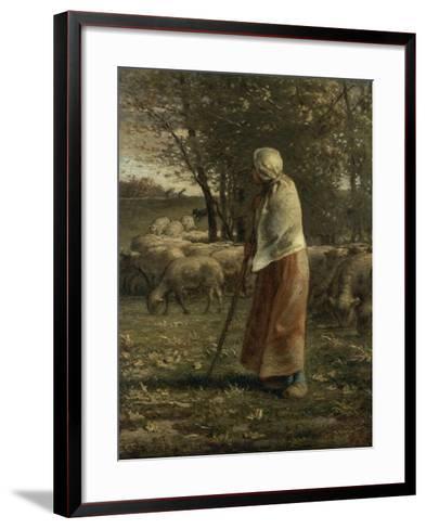 La petite berg�-Jean-Fran?ois Millet-Framed Art Print