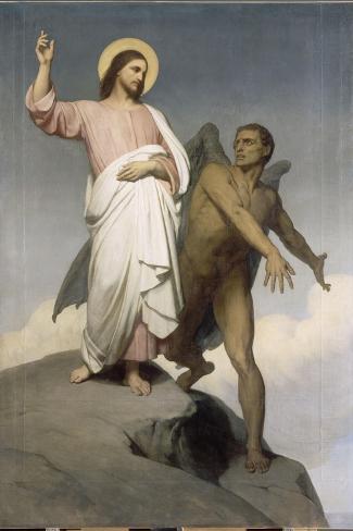 La tentation du Christ-Ary Scheffer-Stretched Canvas Print