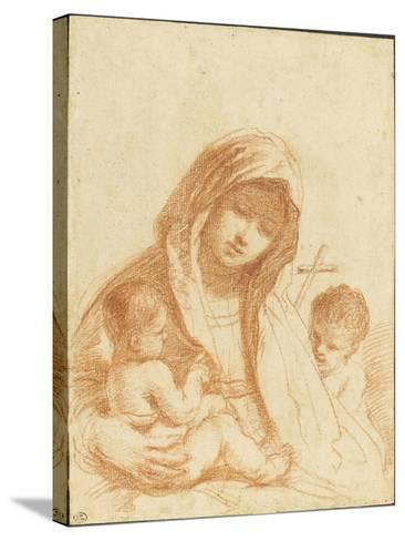 La Vierge à l'Enfant avec le petit saint Jean-Guerchin Le-Stretched Canvas Print